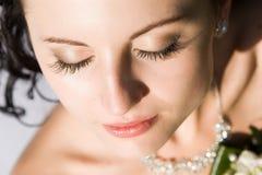 Uma menina bonita fechou seus olhos Foto de Stock Royalty Free