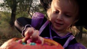 Uma menina bonita pequena em um traje e em um chapéu da bruxa toma doces da cubeta Dia das Bruxas no parque do outono filme