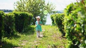 Uma menina bonito pequena está travando uma rede do inseto vídeos de arquivo