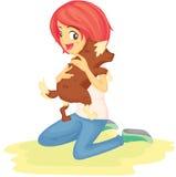 Uma menina com animal de estimação ilustração royalty free