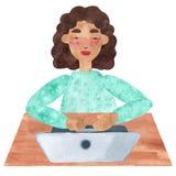 Uma menina com cabelo encaracolado escuro no azul, trabalhando no portátil ilustração stock