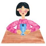 Uma menina com cabelo reto escuro em cor-de-rosa, serfing no Internet ilustração royalty free