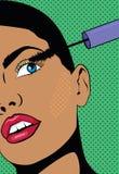 Uma menina com fazer do cabelo curto compõe A mulher guarda uma mão com rímel perto dos olhos Ilustração com uma menina no PNF ilustração do vetor