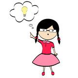 Uma menina com idéia Foto de Stock Royalty Free