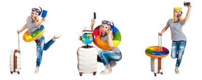 Uma menina com uma mala de viagem está indo descansar em países quentes Uma colagem imagens de stock