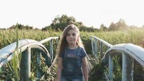 Uma menina com um ramalhete de flores selvagens na floresta para uma caminhada! filme