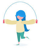 Uma menina com uma corda de salto Fotos de Stock Royalty Free