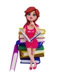 Uma menina 3d com livros Foto de Stock Royalty Free