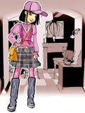 Uma menina da forma no interior Imagens de Stock