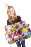 Uma menina de sorriso do aniversário imagem de stock