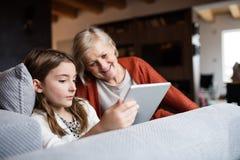 Uma menina e uma avó pequenas com tabuleta em casa Fotografia de Stock Royalty Free