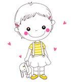 Uma menina e um brinquedo enchido Imagens de Stock
