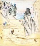 Uma menina e um castelo ilustração royalty free