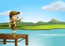Uma menina e um rio ilustração do vetor