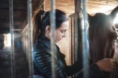 Uma menina em um revestimento preto que afaga um cavalo marrom Cavalo no estábulo fotos de stock