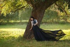 Uma menina em um vestido do vintage imagem de stock royalty free