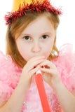 Uma menina em um vestido e em um chapéu cor-de-rosa Fotografia de Stock Royalty Free