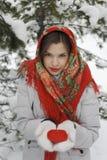 Uma menina em um xaile vermelho Imagens de Stock