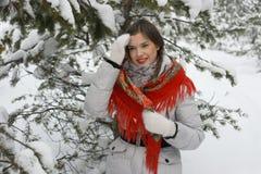Uma menina em um xaile vermelho Fotografia de Stock Royalty Free