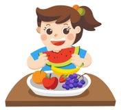 Uma menina feliz comer Friuts ilustração stock