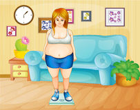 Uma menina gorda que pesa seu peso dentro da casa Foto de Stock Royalty Free
