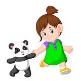 Uma menina gosta de jogar com as bonecas da panda ilustração royalty free