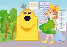 Uma menina joga para fora o lixo Imagem de Stock Royalty Free