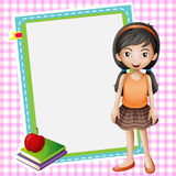 Uma menina, livros e uma placa branca ilustração stock