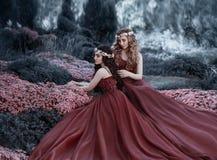 Uma menina loura que afaga seu cabelo moreno do ` s da amiga As meninas como irmãs são vestidas em vestidos similares do marsala, imagem de stock royalty free