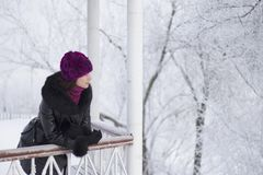 Uma menina na roupa do inverno que anda através do parque coberto de neve Inclinado nos gazebos de cerco fotos de stock royalty free