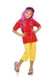 Uma menina na roupa extravagante e nos vidros 3d Imagens de Stock Royalty Free