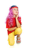 Uma menina na roupa extravagante e nos vidros 3d Imagem de Stock Royalty Free