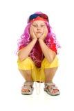 Uma menina na roupa extravagante e nos vidros 3d Foto de Stock