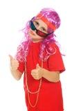 Uma menina na roupa extravagante e nos vidros 3d Foto de Stock Royalty Free