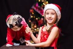 Uma menina no traje de Santa Claus dá um pug para lamber um bastão de doces n Fotos de Stock