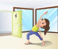 Uma menina que aquece-se em uma sala ilustração do vetor