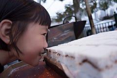 Uma menina que cheira o bolo de arroz Fotografia de Stock