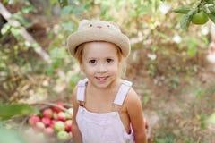 Uma menina que come uma maçã no jardim Imagens de Stock Royalty Free