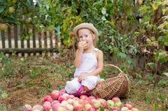 Uma menina que come uma maçã no jardim Imagens de Stock