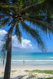 Uma menina que está em uma praia branca bonita da areia em Vietnam 2 Imagens de Stock Royalty Free