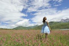 Uma menina que está no prado completamente das flores fotografia de stock royalty free
