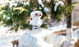 Uma menina que guarda um boneco de neve pequeno Fotografia de Stock Royalty Free