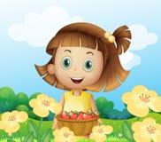 Uma menina que guardara uma cesta dos frutos ilustração do vetor