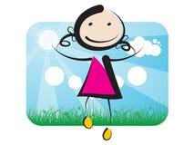Uma menina que salta até o céu Imagem de Stock Royalty Free