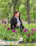 Uma menina que senta-se ao lado das centenas de tulipas vermelhas imagem de stock
