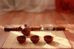 Uma menina realiza nas mãos um chá chinês Fotografia de Stock