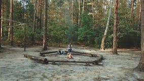 Uma menina senta-se na floresta que lê um livro A menina senta-se em um log ao lado do fogo e lê-se um livro, vista aérea, video estoque
