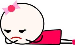 Uma menina triste dos desenhos animados que estabelece enfrentar para baixo ao gritar ilustração do vetor