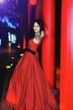 Uma menina vestiu-se em um vestido de noite vermelho Foto de Stock Royalty Free