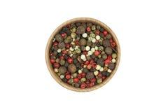 Uma mistura das grões da pimenta Fotografia de Stock